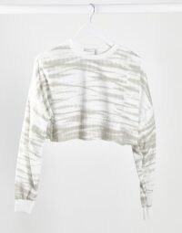 ASOS DESIGN lounge co-ord cropped loopback sweat in tonal tie dye