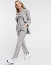 ASOS DESIGN mansy 3 piece suit in taupe texture ~ grey trouser suits with waistcoats