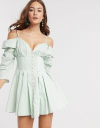 ASOS DESIGN off shoulder corset detail mini shirt dress with button detail soft blue | thin strap fit and flare