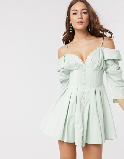 ASOS DESIGN off shoulder corset detail mini shirt dress with button detail soft blue | thin strap fit and flare - flipped