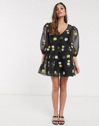 ASOS DESIGN Petite daisy embroidered organza tiered wrap smock dress in black / semi sheer puff sleeved dresses