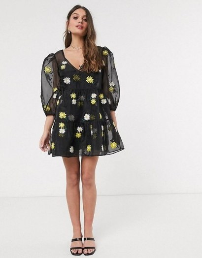 ASOS DESIGN Petite daisy embroidered organza tiered wrap smock dress in black / semi sheer puff sleeved dresses - flipped