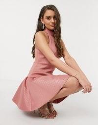 ASOS DESIGN Petite high neck embossed mini skater dress in dark pink / mock croc design fit and flare