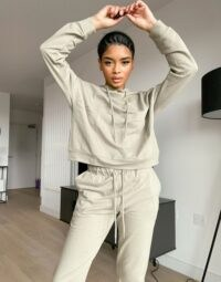 ASOS DESIGN Petite tracksuit hoodie / slim jogger with tie in organic cotton in pale khaki ~ hoodies & joggers ~ sports fashion sets