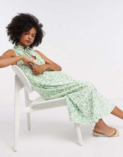 ASOS DESIGN plisse midi dress with frill neck in green floral / sleeveless ditsy print dresses - flipped