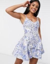 ASOS DESIGN premium jacquard corseted ruffle side mini dress in blue | ruffled fit and flare