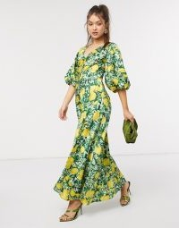ASOS DESIGN satin trapeze maxi dress with puff sleeves in lemon print / citrus fruit prints