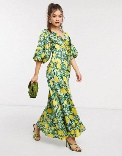 ASOS DESIGN satin trapeze maxi dress with puff sleeves in lemon print / citrus fruit prints - flipped