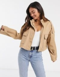 ASOS DESIGN slouchy lightweight cropped jacket in stone ~ utility fashion