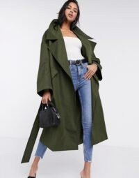 ASOS DESIGN slouchy oversized lightweight trench coat in khaki ~ dark green outerwear