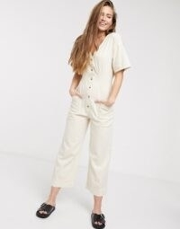 ASOS DESIGN soft denim relaxed boilersuit in ecru