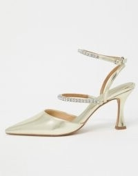 ASOS DESIGN Star embellished pointed mid-heels in gold ~ strappy metallic shoes
