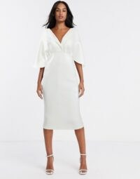 ASOS DESIGN structured cape sleeve shirt midi pencil dress in white