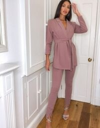 ASOS DESIGN Tall jersey wrap suit in blush ~ pink slim fit trouser suits