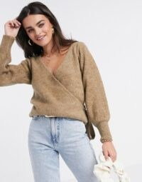 ASOS DESIGN wrap fluffy jumper in brown – taupe side tie jumpers