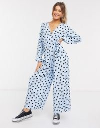 ASOS DESIGN wrap tie jumpsuit in blue & black spot print / wide leg jumpsuits