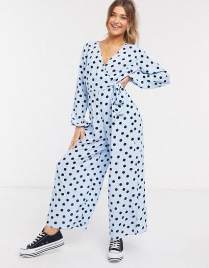 ASOS DESIGN wrap tie jumpsuit in blue & black spot print / wide leg jumpsuits