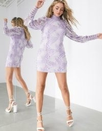 ASOS EDITION cutwork embroidered palm mini dress with puff sleeve | lilac going out dresses