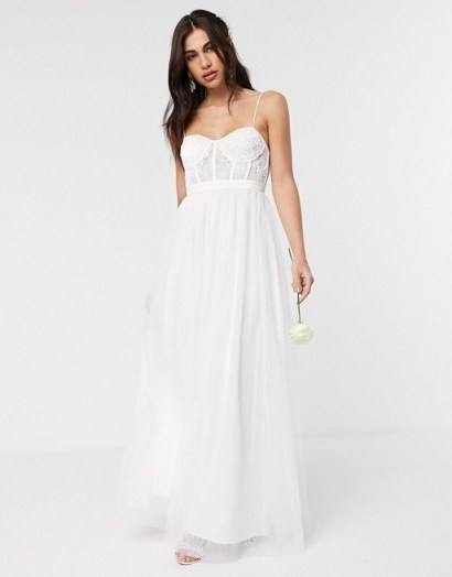 ASOS EDITION Louisa lace corset wedding dress with mesh skirt | spaghetti strap bustier detail bridal dresses - flipped