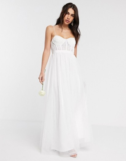 ASOS EDITION Louisa lace corset wedding dress with mesh skirt | spaghetti strap bustier detail bridal dresses