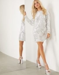 ASOS EDITION mini batwing dress with mirror disc sequins ~ shimmering shift dresses ~ evening glamour