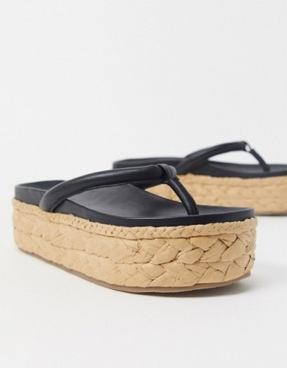 Chunky flatfoms | ASRA Exclusive Ember flatform espadrilles in raffia and black leather - flipped