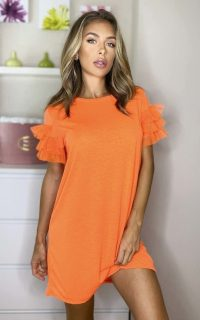 ikrush Astrid Tulle Sleeve T-Shirt Dress in Orange – tee dresses