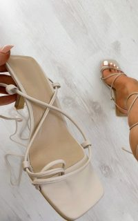 ikrush Astro Lace Up Heels in Nude – strappy going out shoes