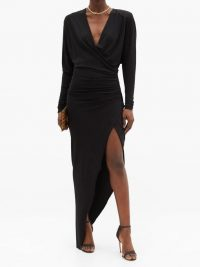 ALEXANDRE VAUTHIER Asymmetric gathered jersey dress ~ glamorous front wrap event dresses