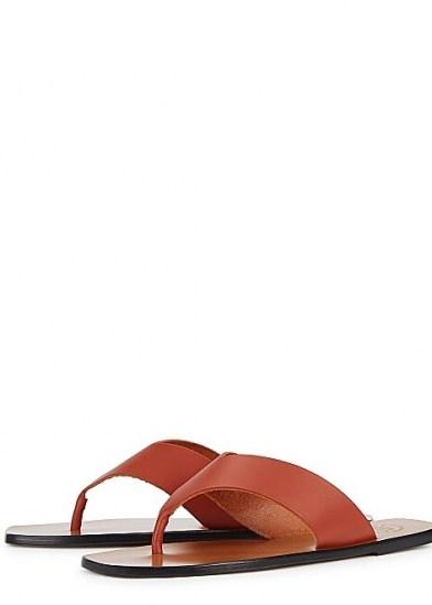ATP ATELIER Merine brown leather sandals ~ toe post flats