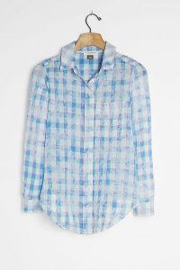 Pilcro The Cate Classic Tie-Dye Buttondown Top Blue / checked shirts