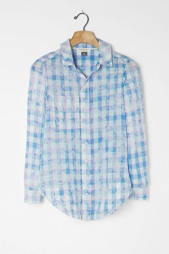 Pilcro The Cate Classic Tie-Dye Buttondown Top Blue / checked shirts - flipped