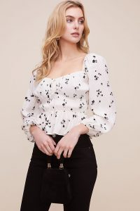 Anthropologie Demi Ditsy Print Shirred Top Black & White