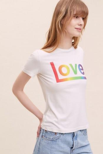 Sol Angeles Rainbow Love T-Shirt White / slogan t-shirts