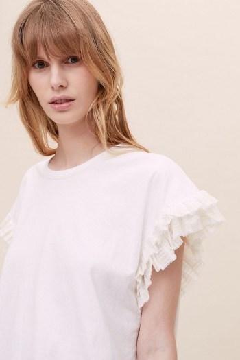 ANTHROPOLOGIE Madija Ruffled T-Shirt White / frill detail t-shirts / feminine tee - flipped