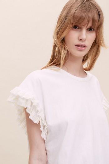 ANTHROPOLOGIE Madija Ruffled T-Shirt White / frill detail t-shirts / feminine tee