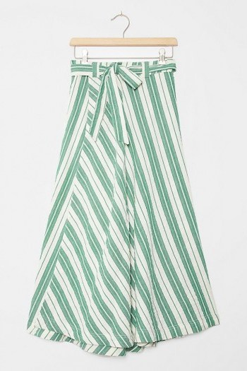 Maeve Franconia Striped Maxi Skirt Green Motif - flipped
