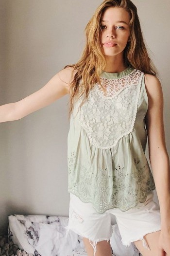 Bl-nk Rayna Eyelet and Lace-Detailed Top Mint / green sleeveless tops - flipped