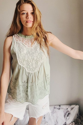 Bl-nk Rayna Eyelet and Lace-Detailed Top Mint / green sleeveless tops