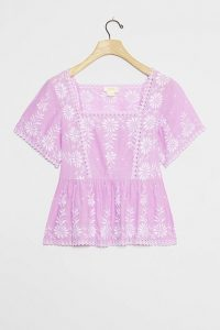 Maeve Alina Embroidered Eyelet Blouse Lavender