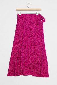 Beachgold Oriana Wrap Midi Skirt / pink side tie skirts