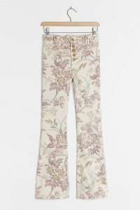 Pilcro High-Rise Bootcut Floral Print Jeans Neutral Motif / printed denim
