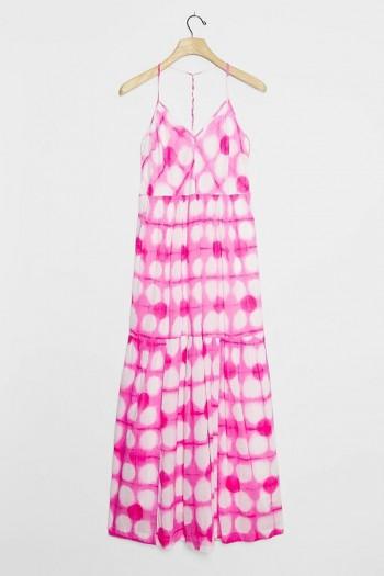 Maeve Geneva Maxi Dress Pink / strappy racerback dresses
