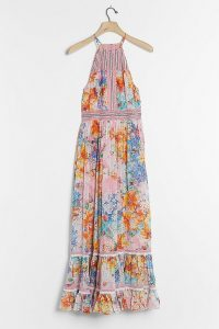 Bhanuni by Jyoti Yuko Halter Maxi Dress Pink Combo / mixed print halterneck dresses