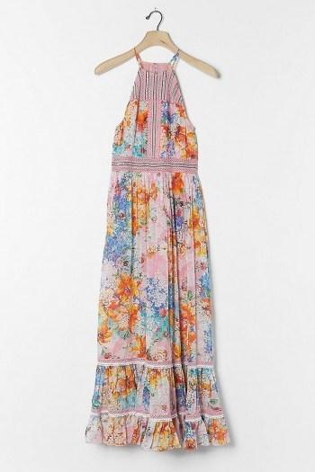 Bhanuni by Jyoti Yuko Halter Maxi Dress Pink Combo / mixed print halterneck dresses - flipped