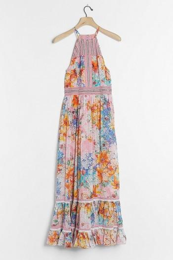 Bhanuni by Jyoti Yuko Halter Maxi Dress Pink Combo / mixed print halterneck dresses