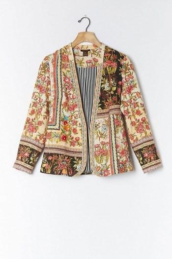 Vineet Bahl Lula Embroidered Blazer / multi print floral jacket - flipped