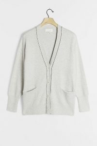 Anthropologie Cerelia Knit Cardigan Grey / front pocket cardi