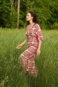 Farm Rio Carmina Button-Front Jumpsuit / red deep plunge jumpsuits
