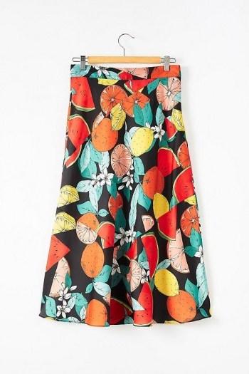 Kachel Paloma Fruit Bias Slip Skirt / fruit print skirts - flipped